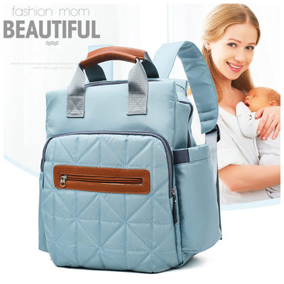 Women's Stylish Solid Waterproof Nylon Bags Large Capacity Multi-pocket Zipper Backpack - Marfuny