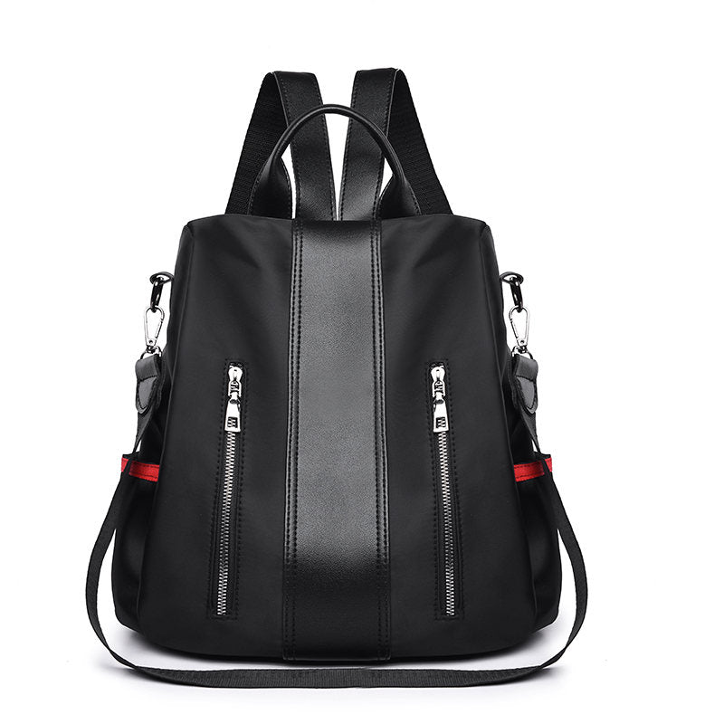 Women's Double Zipper Solid Anti-theft Waterproof Oxford Multifunctional Backpack - Marfuny