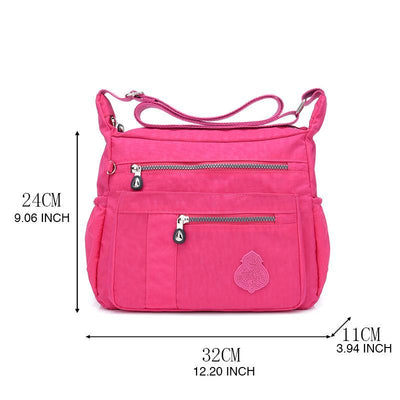 Women's Casual Solid Waterproof Nylon Bags Multifunctional Zipper Crossbody Bags - Marfuny