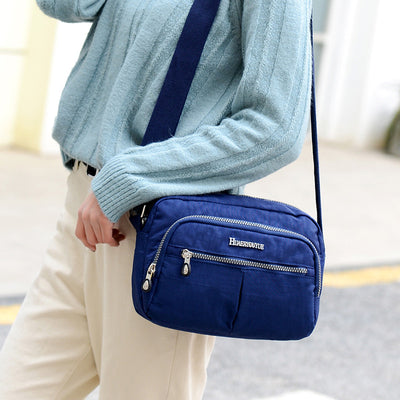 Women's Casual Waterproof Nylon Bag Solid Multi-pocket Zipper Crossbody Bags - Marfuny