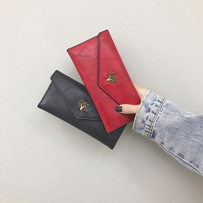 Women's Stylish Solid Waterproof Bags Magnetic Snap Long Wallet  - Marfuny