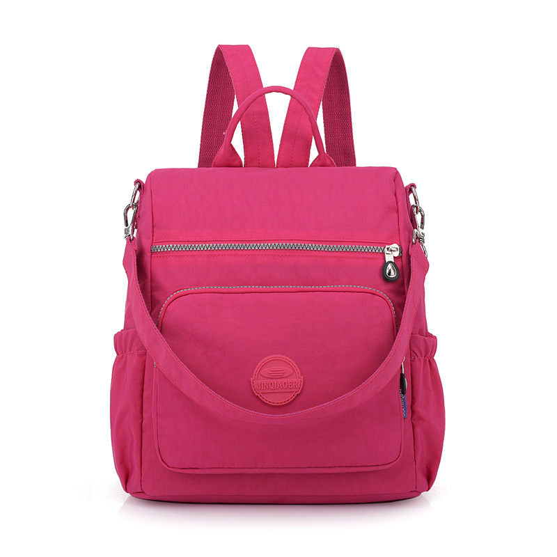 Women's Fashion Solid Waterproof Nylon Bag Anti-theft Zipper Backpack - Marfuny