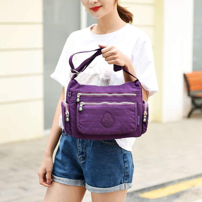 Women's Fashion Waterproof Nylon Bag solid Large Capacity Zipper Crossbody Bag - Marfuny