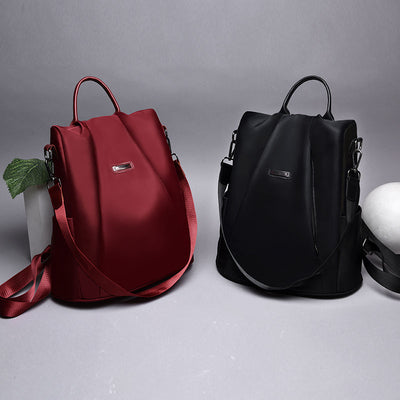 Women's Fashion Waterproof Oxford Bags Solid Multi-pocket Anti-theft Zipper Backpack - Marfuny