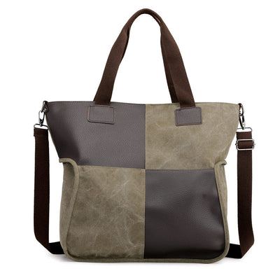 Women's Vintage High Quality Canvas Contrast Color Large Capacity Zipper Handbags - Marfuny