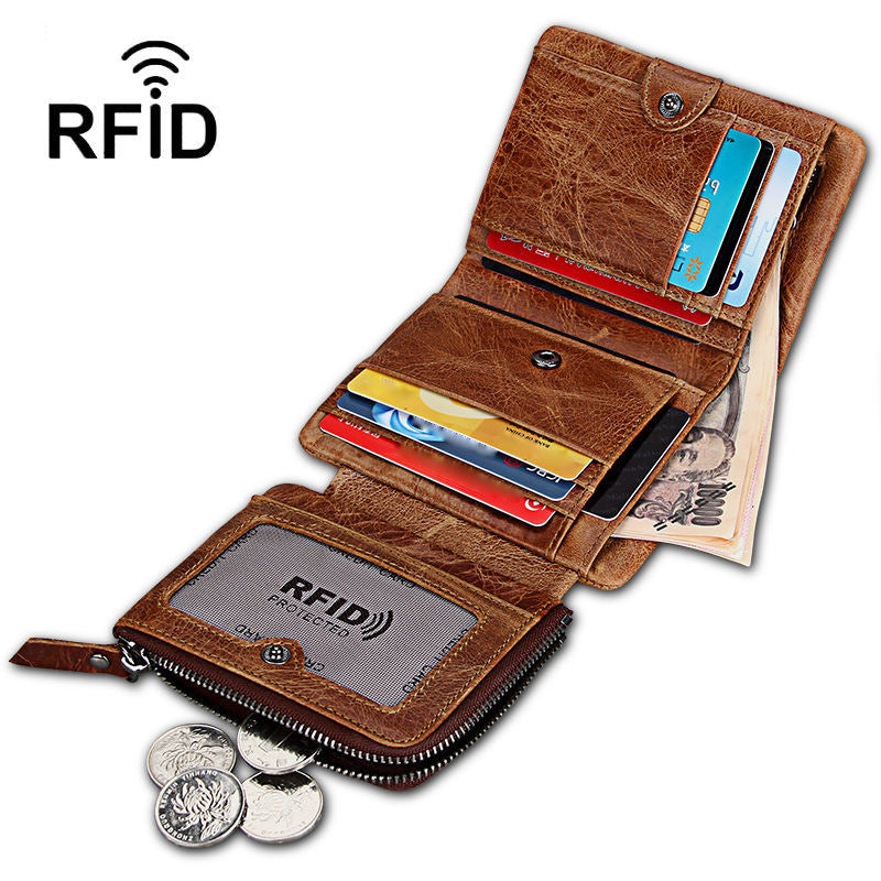 Men's Vintage Genuine Leather RFID Multi Card Slots Double Zippers Short Wallet - Marfuny