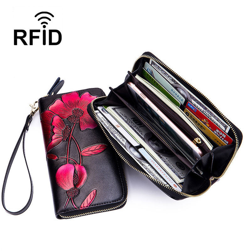 Women's RFID Fashion Genuine Leather Print Multi-card Slot Long Wallet - Marfuny