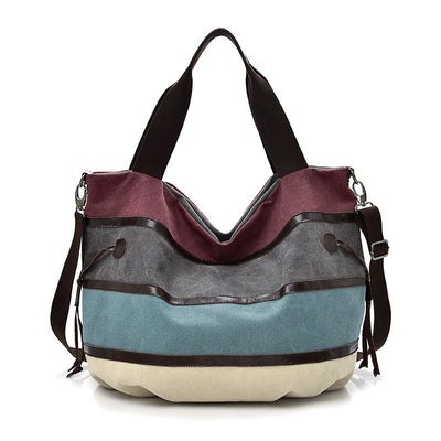 Women's Vintage High Quality Canvas Contrast Color Large Capacity Multifunctional Zipper Handbags - Marfuny