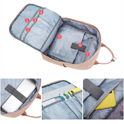 Women's Classic Soft Waterproof Nylon Bags Large Capacity Patchwork Zipper Backpack - Marfuny
