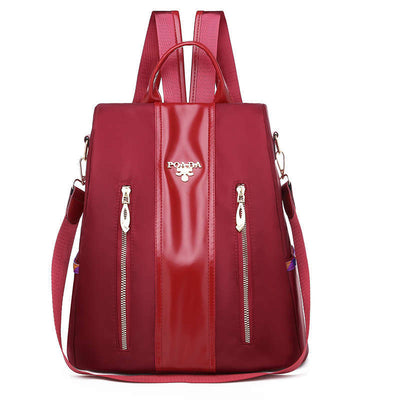 Women's Fashion Waterproof Nylon Bag Double Zipper Solid Anti-theft Zipper Backpack - Marfuny