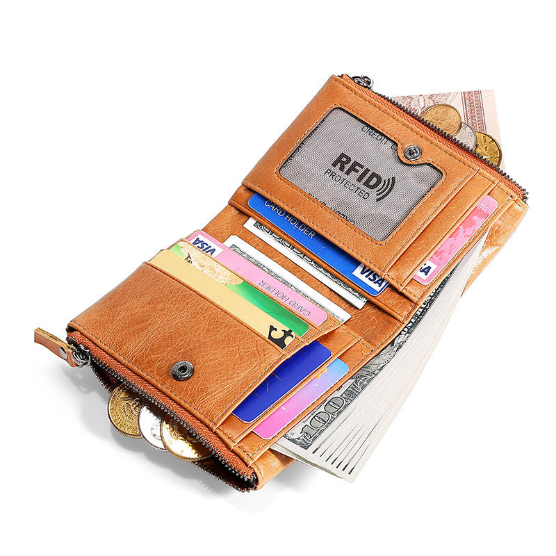 Men's Fashion Genuine Leather RFID Multi Card Slots Double Zippers Short Wallet - Marfuny