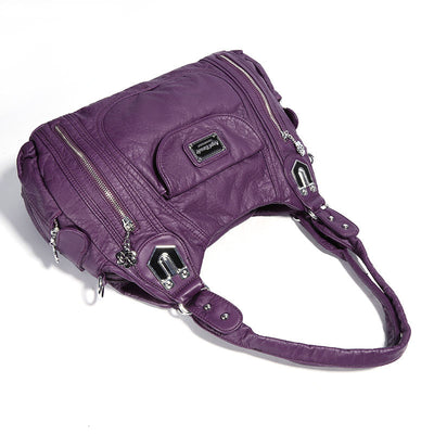 Women's Vintage Solid Waterproof Bags Large Capacity Multi-pocket Zipper Handbags - Marfuny