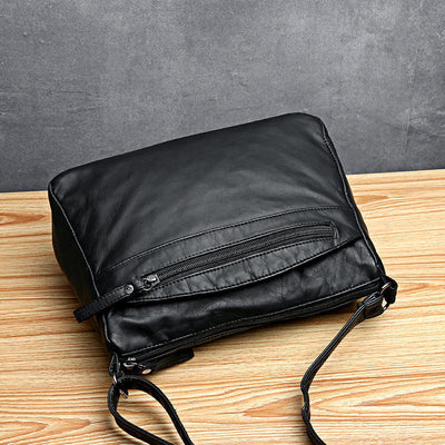 Women's Vintage Solid Waterproof Bags Multi-pocket Large Capacity Zipper Crossbody Bag - Marfuny