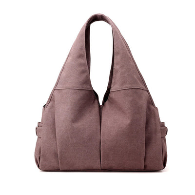 Women's Fashion Solid Canvas Bags Large Capacity Multi-pocket Zipper Handbags - Marfuny
