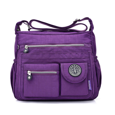 Women's Fashion Waterproof Nylon Bag Solid Large Capacity Multifunctional Zipper Crossbody Bags - Marfuny