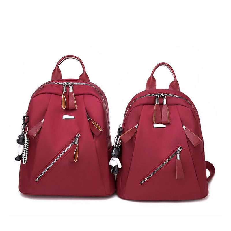 Women's Classic Oxford Waterproof Two Size Doll Zipper Backpack - Marfuny