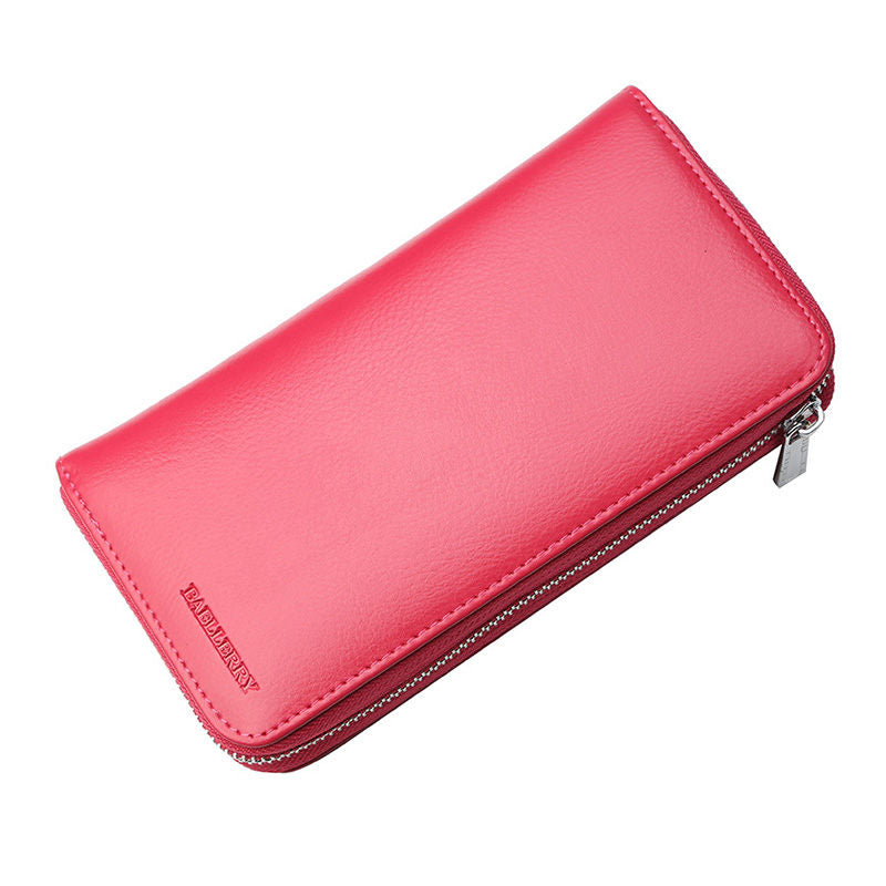 Women's Fashion Genuine Leather Bags RFID Card Holders Solid Multifunctional Zipper Wallet  - Marfuny