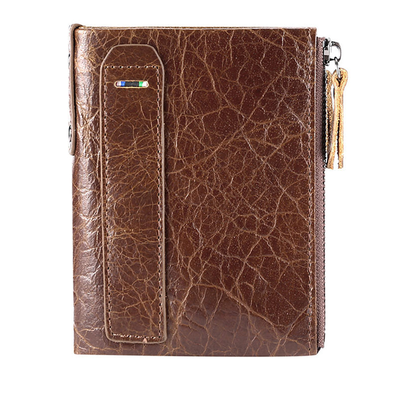 Men's Classic Genuine Leather RFID Multi Card Slots Double Zippers Short Wallet - Marfuny