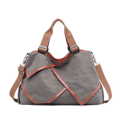 Women's Classic Solid Canvas Large Capacity Multifunctional Multi-pocket Zipper Handbags - Marfuny