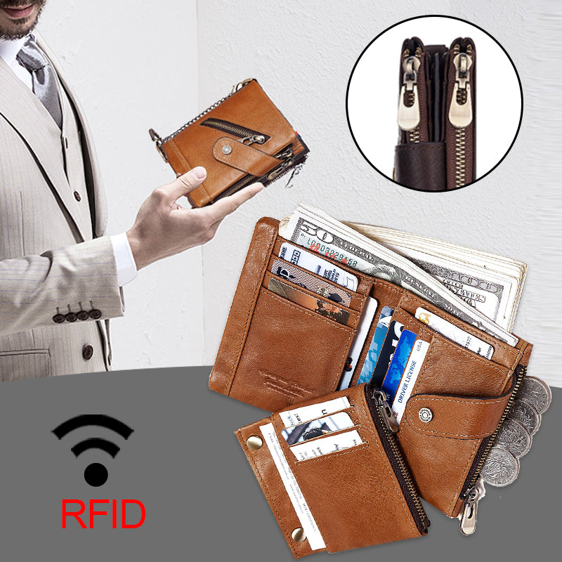 RFID Anti-theft Genuine Leather Men Wallet Coin Purse