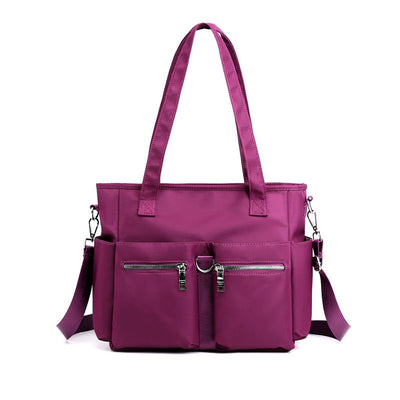 Women's Fashion Solid Waterproof Nylon Bags Large Capacity Zipper Handbags - Marfuny