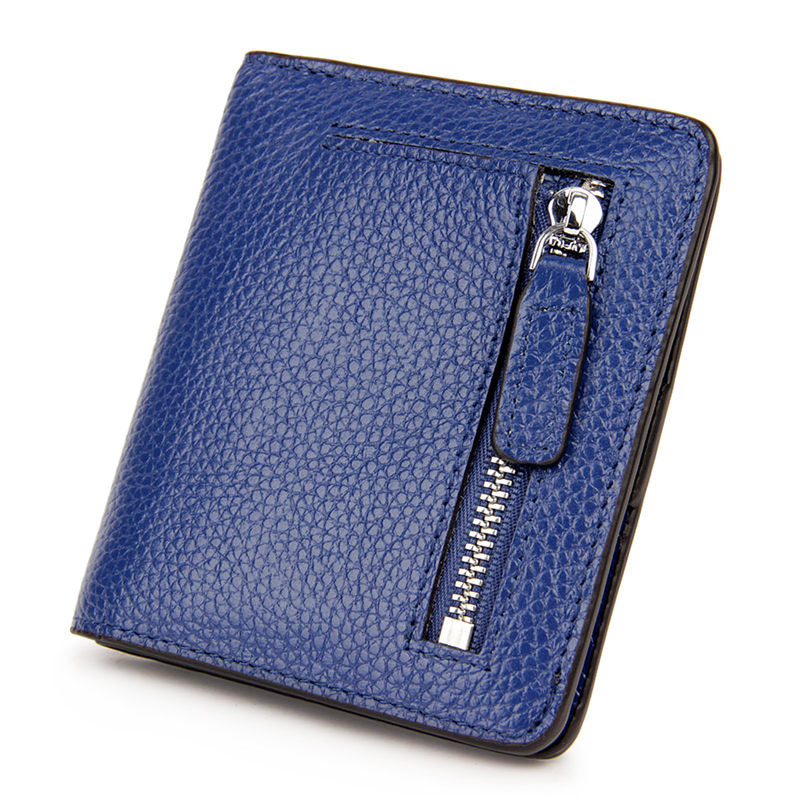Women's Casual Small Genuine Leather Bags RFID Card Holders Solid Multifunctional Zipper Wallet  - Marfuny