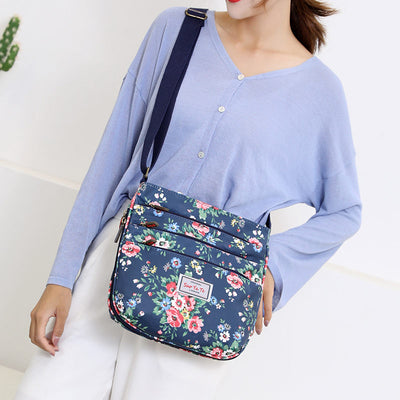 Women's Elegant Waterproof Nylon Bags Print Multi-pocket Zipper Crossbody Bags - Marfuny