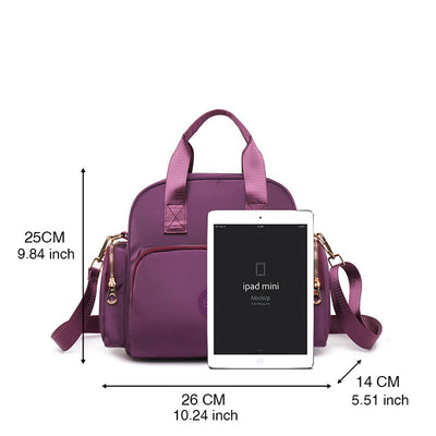 Women's Fashion Solid Waterproof Nylon Bags Multifunctional Multi-pocket Zipper Backpack - Marfuny