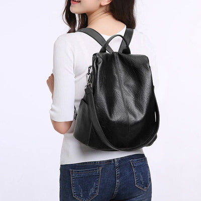 Women's Vintage Solid Large Capacity Anti-theft Waterproof Zipper Backpack - Marfuny