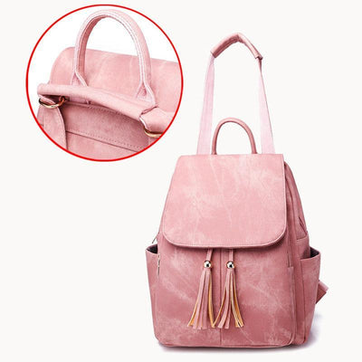Women's Luxury 2PCS/Set Waterproof Bags Tassel Zipper Backpack - Marfuny