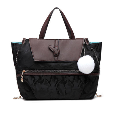 Women's Classic Solid Hairball Waterproof Nylon Bags Large Capacity Multifunctional Zipper Handbags - Marfuny
