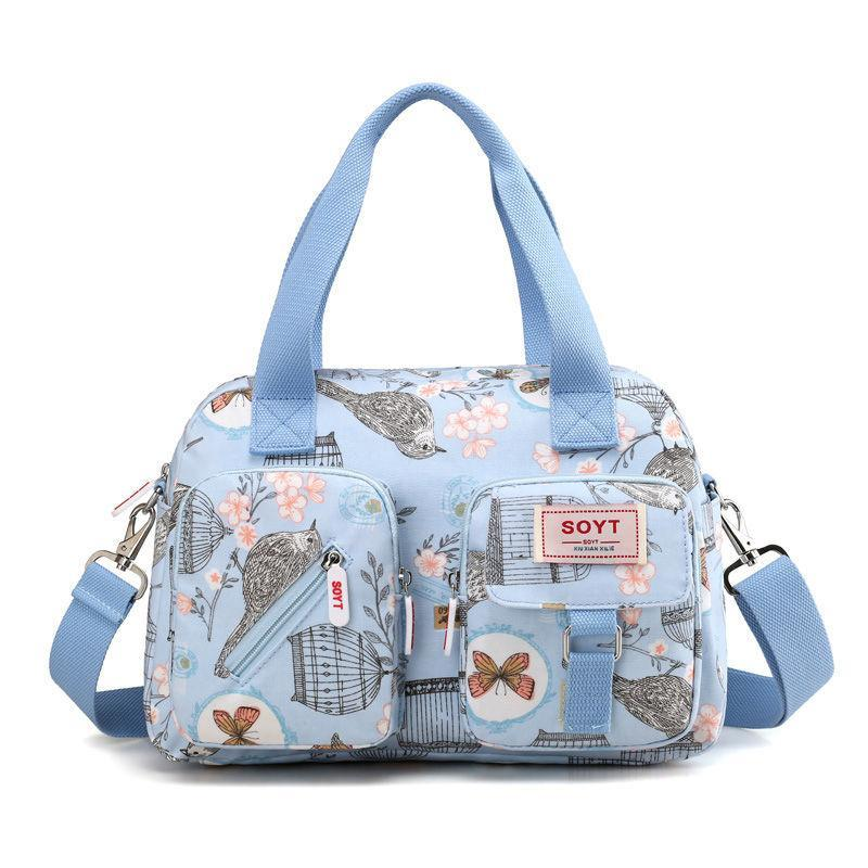 Women's Classic Oxford Print Large Capacity Multifunctional Zipper Handbags - Marfuny
