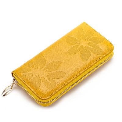 Women's Fashion Genuine Leather Multi-card Slot Embossing Waterproof Long Wallet - Marfuny