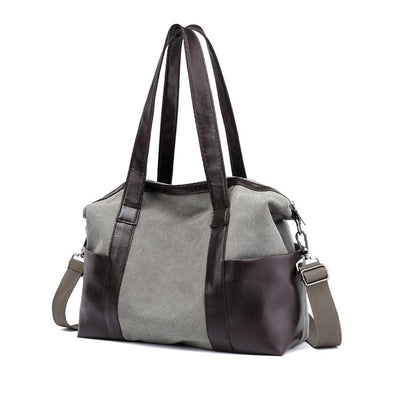 Women's Classic Solid Canvas Multi-pocket  Large Capacity Zipper Handbags - Marfuny