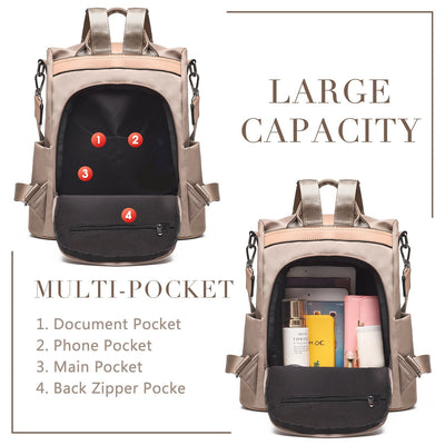 Classic Nylon Large Capacity Multifunctional Anti-theft Zipper Backpack - Marfuny