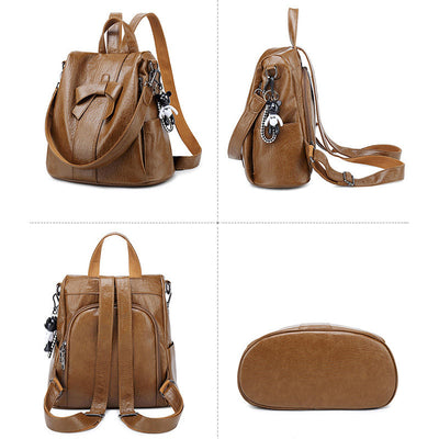 Women's Vintage Zipper Pocket Solid Multifunctional Waterproof Anti-theft Backpack - Marfuny