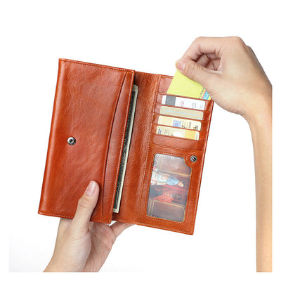 🔥RFID Anti-theft Long Wallet🔥Genuine Leather Coin Purse