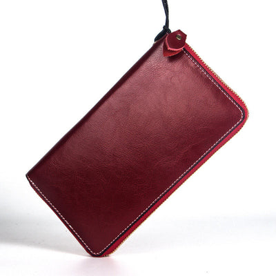 Women's Vintage RFID Card Holders Genuine Leather Bags Solid Long Zipper Wallet - Marfuny