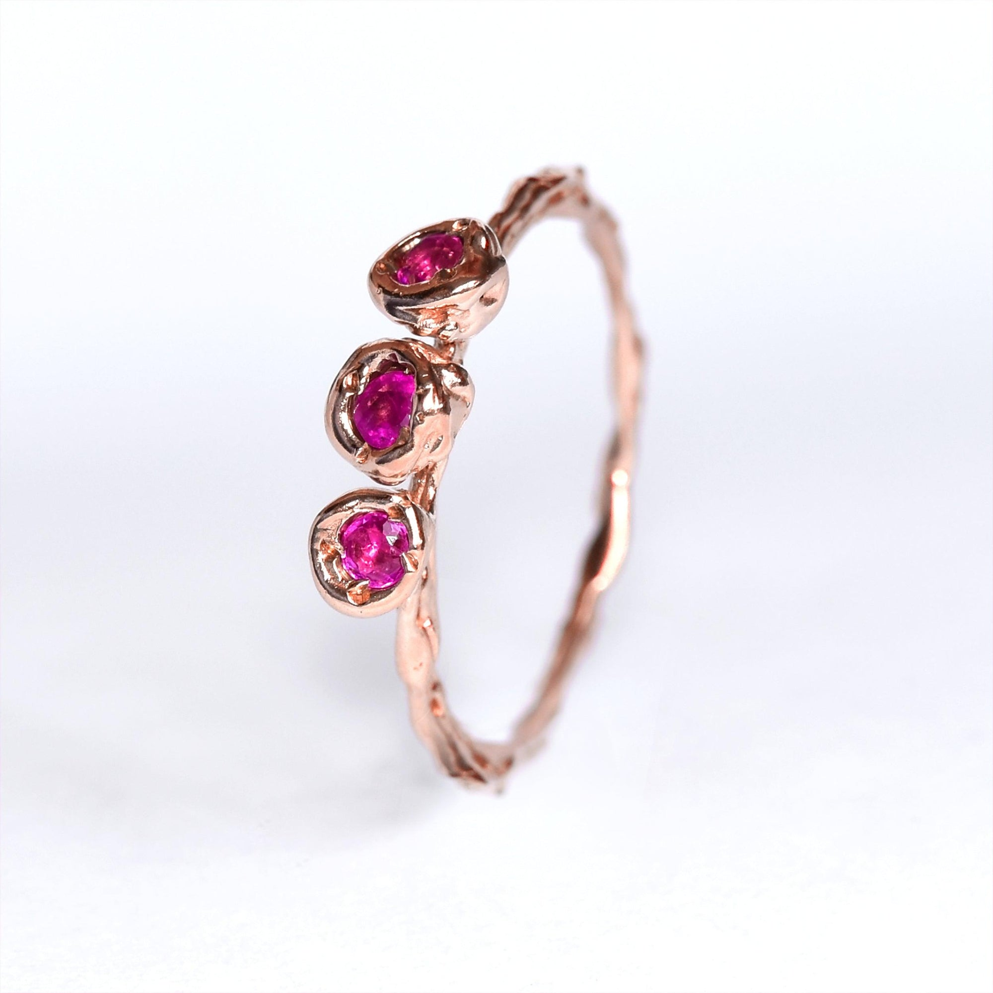 Rose Gold ring set with pink sapphires, one of a kind