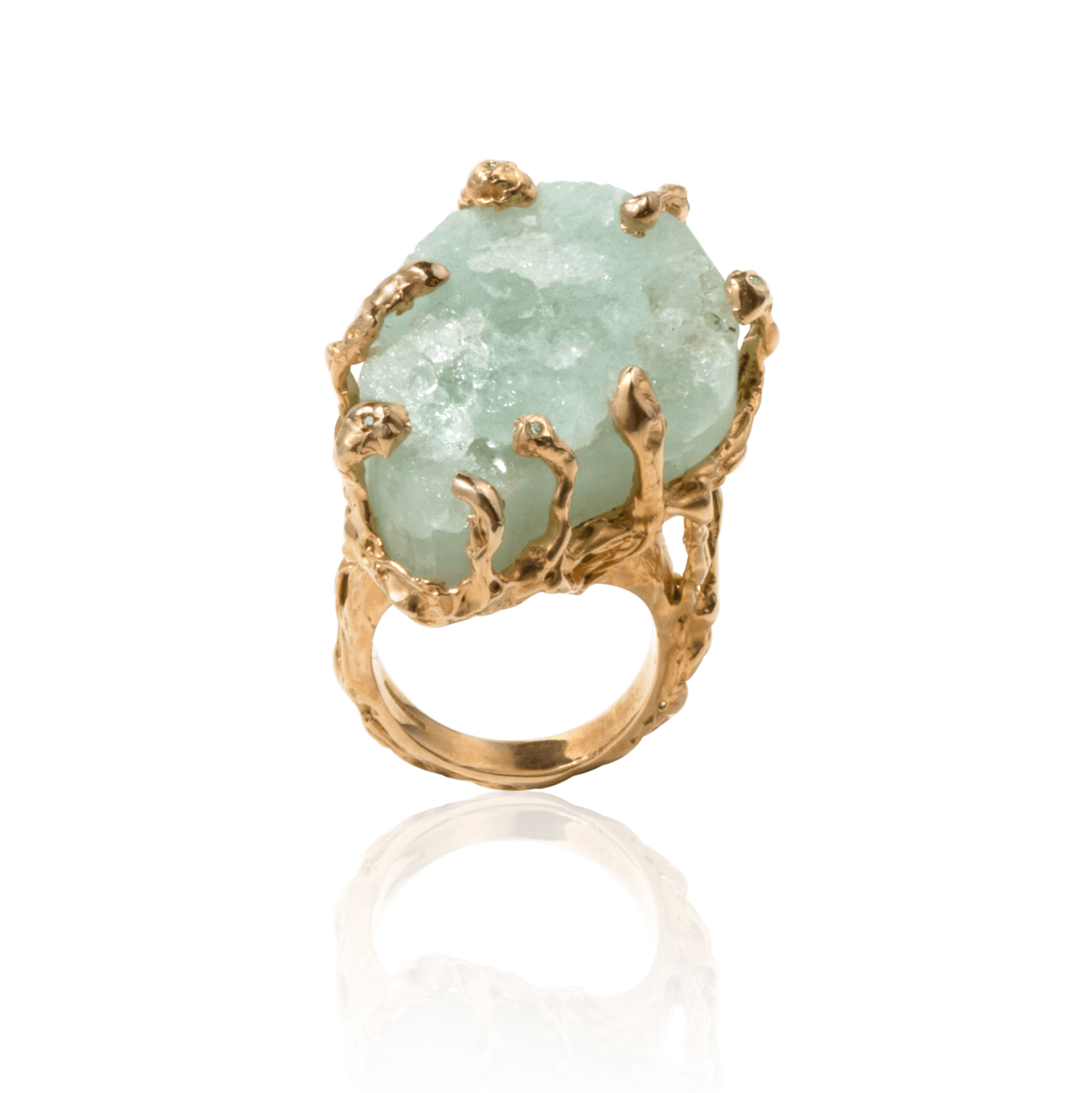 Gold ring set with rough aquamarine and white diamonds