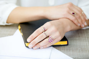 Gold ring set with pink sapphires, one of a kind