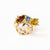 Gold ring set with morganite, sapphire, tourmaline, garnet and white diamonds boho style ring