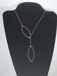 hammered leaf marquee lariat necklace