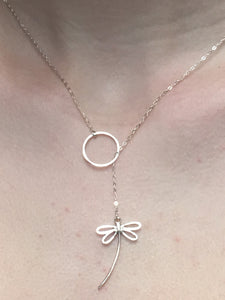 "Sterling Silver 18"" Dragonfly Lariat"