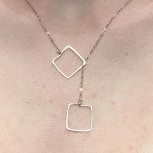 Sterling Silver Tiny Square Lariat