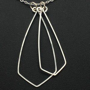 "Sterling Silver Stacked Geo 24"" Necklace"