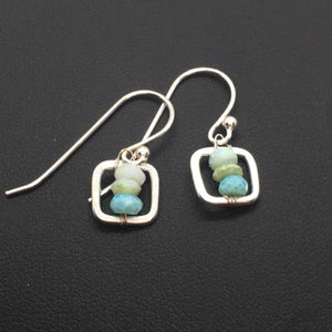 Sterling Silver Opal Square Dangle Earrings