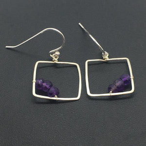 amethyst square dangle earrings sterling silver