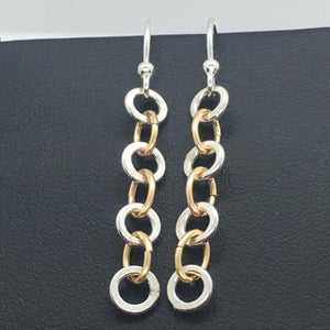 Sterling Silver and Gold Filled Dangle Chain Earrings