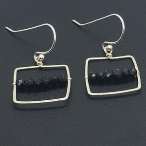 Sterling Silver Black Spinel Square Dangle Earrings